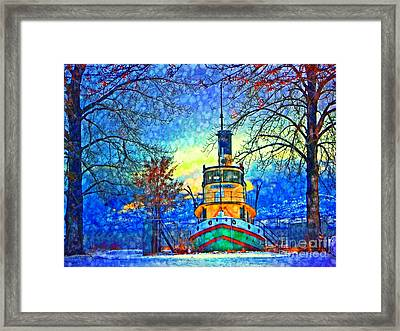 Winter And The Tug Boat 2 Framed Print by Tara Turner