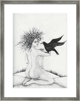 Framed Print featuring the drawing Winter by Anna  Duyunova
