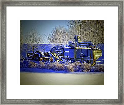 Winter Antique Tractor And Combine Framed Print by Al Bourassa
