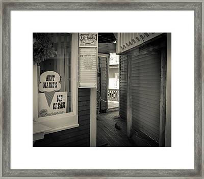 Winter At Aunt Marie's Ice Cream Stand Framed Print