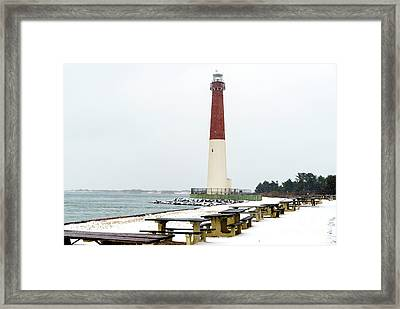 Winter At Barnegat Lighthouse Framed Print by John Rizzuto
