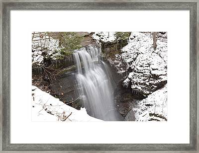 Winter At Buttermilk Falls Framed Print by Allen Gray