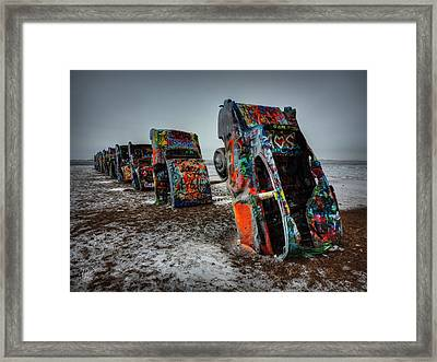 Winter At Cadillac Ranch 001 Framed Print by Lance Vaughn