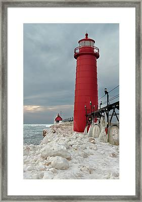 Framed Print featuring the photograph Winter At Grand Haven Lighthouse by Susan Rissi Tregoning