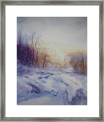 Framed Print featuring the painting Winter At Mont Morrissette Qc by Kim Fournier