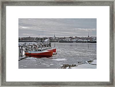 Winter At Newburyport Harbor Framed Print