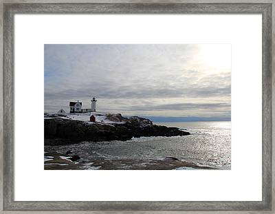 Winter At Nubble Lighthouse Framed Print by Becca Brann