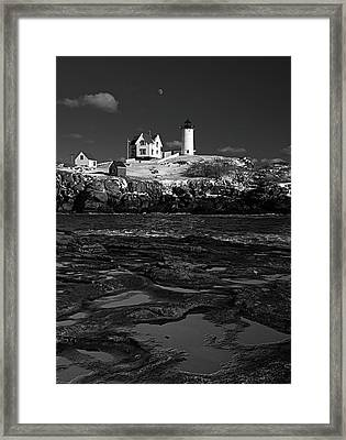 Winter At Nubble Lighthouse Bw Framed Print