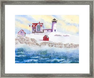 Winter At Nubble Lighthouse  Framed Print