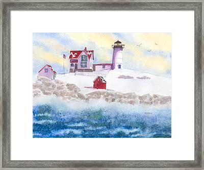 Winter At Nubble Lighthouse  Framed Print by Roseann Meserve