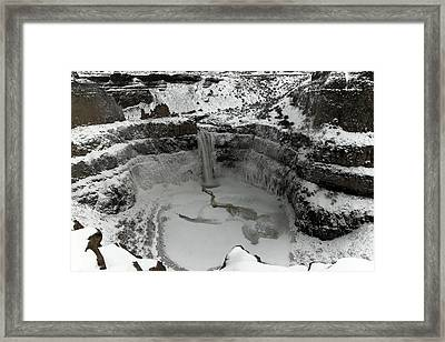 Winter At Palouse Falls Framed Print by Jeff Swan