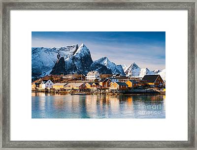 Winter At Sakrisoy Village On The Lofoten Islands Framed Print by Janet Burdon