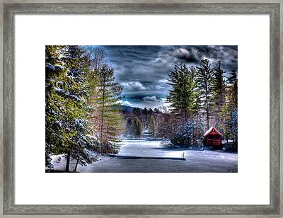Framed Print featuring the photograph Winter At The Boathouse by David Patterson