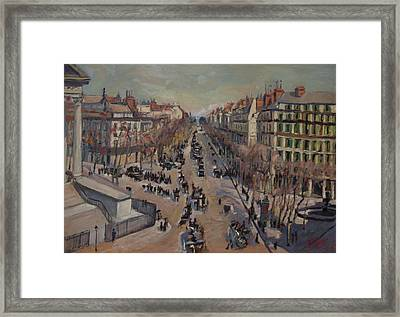 Winter At The Boulevard De La Madeleine, Paris Framed Print