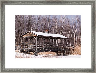 Winter At The Covered Bridge Framed Print