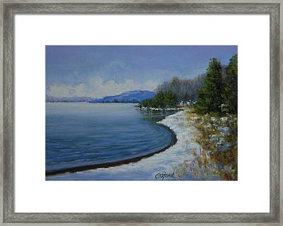 Winter At The Lake Framed Print by Paula Ann Ford
