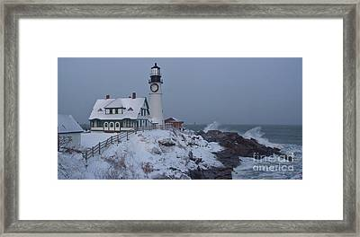 Winter At The Lighthouse Framed Print