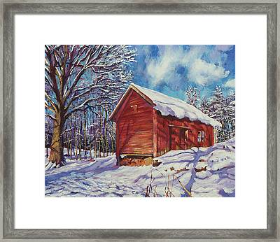 Winter At The Old Barn Framed Print by David Lloyd Glover