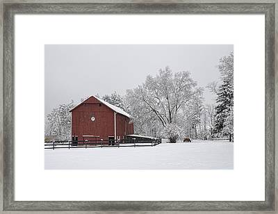 Winter Barn Framed Print by Ann Bridges
