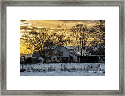 Framed Print featuring the photograph Winter Barn At Sunset - Provo - Utah by Gary Whitton