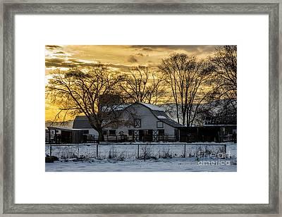 Winter Barn At Sunset - Provo - Utah Framed Print by Gary Whitton