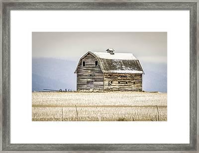 Winter Barn Framed Print by Bryan Moore