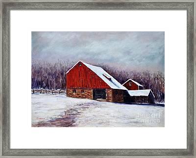 Winter Barn Bucks County Pennsylvania Framed Print by Joyce A Guariglia