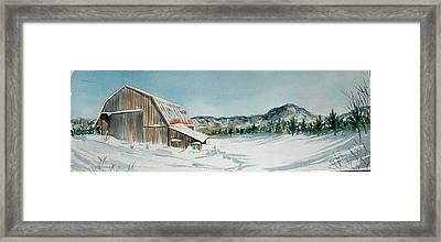 Winter Barn Framed Print by Diane Ziemski