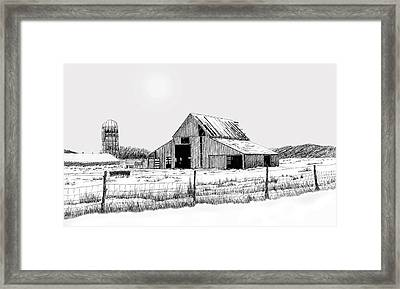 Winter Barn Framed Print by Lyle Brown