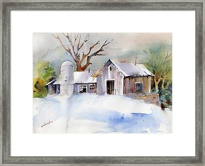 Winter Barn Framed Print by P Anthony Visco
