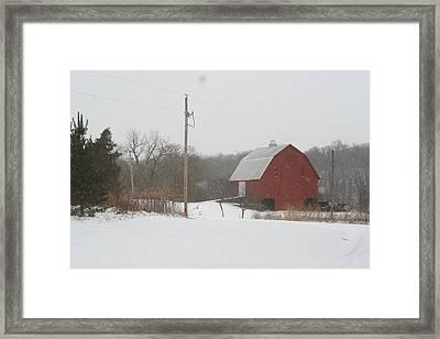 Winter Barn Scene  Framed Print by Eric Irion