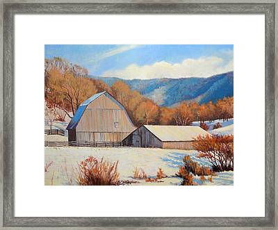 Winter Barns Framed Print by Keith Burgess