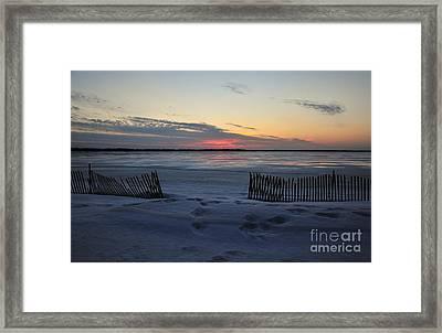 Winter Beach At Dusk Framed Print