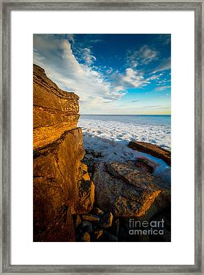 Winter Beach Sunset Framed Print