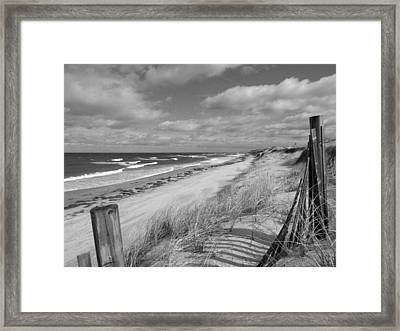 Winter Beach View - Black And White Framed Print by Dianne Cowen