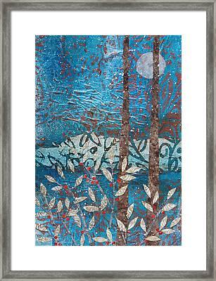 Winter Berries And Full Moon Framed Print
