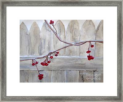 Winter Berries Watercolor Framed Print
