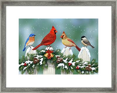 Winter Birds And Christmas Garland Framed Print