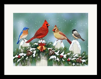 Snow Covered Fence Framed Prints