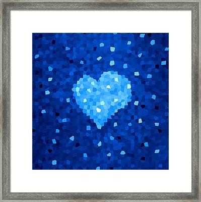Winter Blue Crystal Heart Framed Print by Boriana Giormova