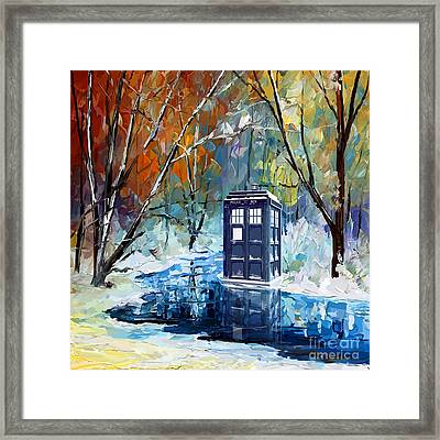 Winter Blue Phone Box Framed Print