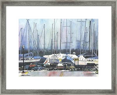 Framed Print featuring the painting Winter Blues by LeAnne Sowa