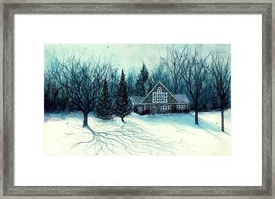 Winter Blues - Stone Chalet Cabin Framed Print