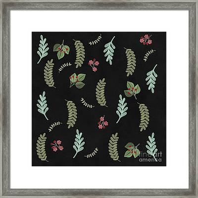 Winter Botanical Leaves, Berries, Nature Framed Print