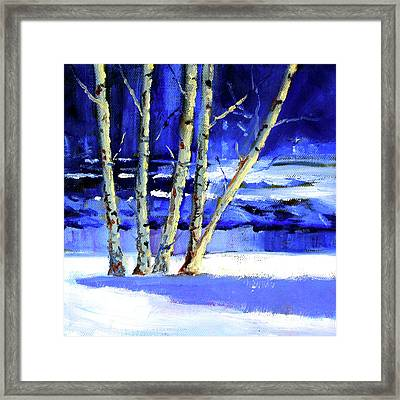 Framed Print featuring the painting Winter By The River by Nancy Merkle