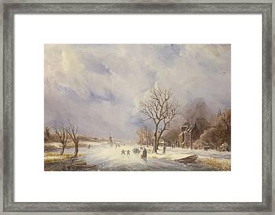 Winter Canal Scene Framed Print