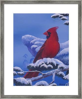 Winter Cardinal Framed Print by Michael Allen
