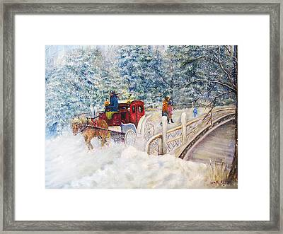 Winter Carriage In Central Park Framed Print by Loretta Luglio