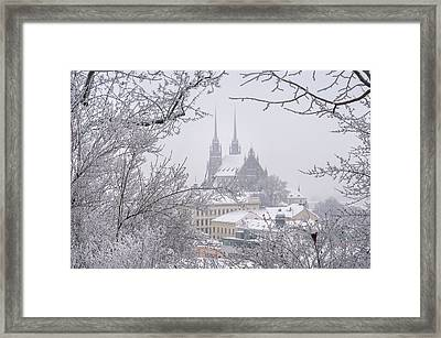 Winter Cathedral Of St. Peter And Paul In Brno Framed Print