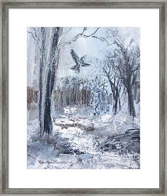 Framed Print featuring the painting Winter Caws by Robin Maria Pedrero